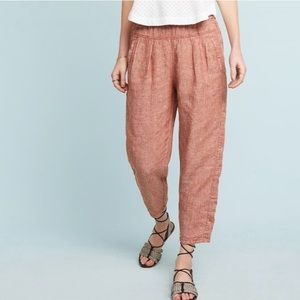 Hei Hei (Anthropologie) pink linen jogger pants